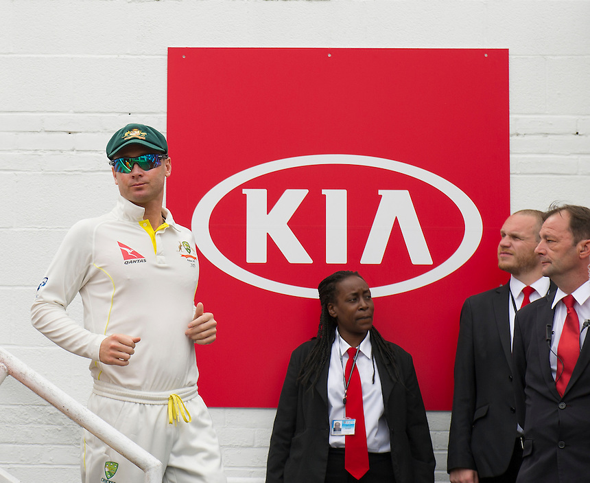 Australia's Michael Clarke leads his team out on the 4th morning<br /> <br /> Photographer Ashley Western/CameraSport<br /> <br /> International Cricket - Investec Ashes Test Series 2015 - Fifth Test - England v Australia - Day 4 - Sunday 23rd August 2015 - Kennington Oval - London<br /> <br /> &copy; CameraSport - 43 Linden Ave. Countesthorpe. Leicester. England. LE8 5PG - Tel: +44 (0) 116 277 4147 - admin@camerasport.com - www.camerasport.com