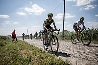 More at home in the mountains, Mikel Nieve (ESP/Mitchelton Scott) tries to avoid the cobbles as much as possible.<br /> <br /> Stage 9: Arras Citadelle > Roubaix (154km)<br /> <br /> 105th Tour de France 2018<br /> ©kramon