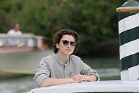 VENICE, ITALY - September 02: Timothee Chalamet arrives in Darsena Excelsior during the 76th Venice Film Festival  on September 02, 2019 in Venice, Italy. (Photo by Mark Cape/Inside Foto)<br /> Venezia 02/09/2019