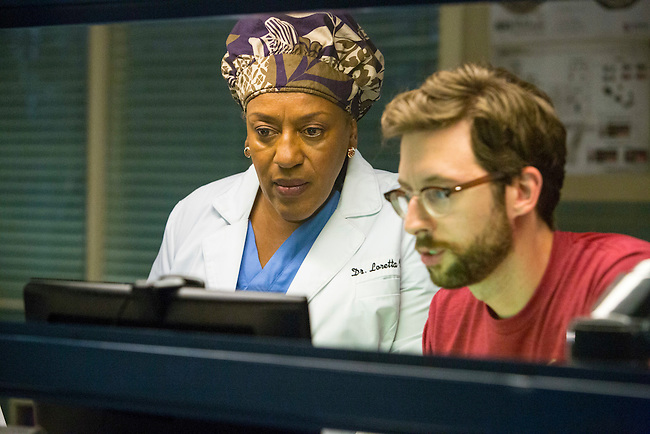 "CCH Pounder as Dr. Loretta Wade and Rob Kerkovich as Sebastian Lund in CBS's ""NCIS: New Orleans"" Season 1"
