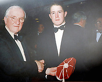 FAO STEWART HUNTER, DAILY MAIL SPORTS PICTURE DESK<br /> Pictured: A collect picture showing Shane Williams winning his first ever Welsh Cap presented by Sir Tasker Watkins, in the Amman United RFC clubhouse in Cwmamman, Wales, UK. Thursday 13 April 2017<br /> Re: Former Wales international rugby player Shane Williams is to make another comeback as part of the Amman United team that contests a final at the Principality Stadium in Cardiff on Saturday.<br /> 40 year old Williams, Wales' record try scorer has been named in his local village side that will take on Caerphilly in the National Bowl final, having recovered from a fractured jaw in the semi-final win against Cardigan after almost five years since Williams last played for the Barbarians against Wales.<br /> He retired from the Test scene after a defeat to Australia in 2011, immediately after Wales had reached the semi-final of the World Cup of that year.