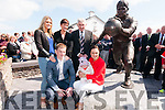 Paidí Ó Sé family Maire, Neasa, Padraig Óg, Siún and baby Fiadh with Mick O'Dwyer at the unveiling of Paidí Ó Sé statue at Ard an Bothair, Ventry, on Saturday afternoon.