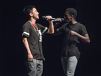 Earl Park '16 and Daniel Waruingi '19 perform. Occidental College students perform and compete during Apollo Night, one of Oxy's biggest talent showcases, on Friday, Feb. 26, 2016 in Thorne Hall. Sponsored by ASOC, hosted by the Black Student Alliance as part of Black History Month.<br /> (Photo by Marc Campos, Occidental College Photographer)