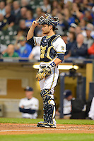 Milwaukee Brewers catcher Jonathan Lucroy #20 during a game against the Los Angeles Dodgers at Miller Park on May 22, 2013 in Milwaukee, Wisconsin.  Los Angeles defeated Milwaukee 9-2.  (Mike Janes/Four Seam Images)