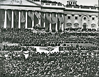 Inauguration for President Woodrow Wilson on the East Front of the U.S. Capitol, March 5, 1917.<br /> <br /> Photo by Architect of the Capitol photographers.