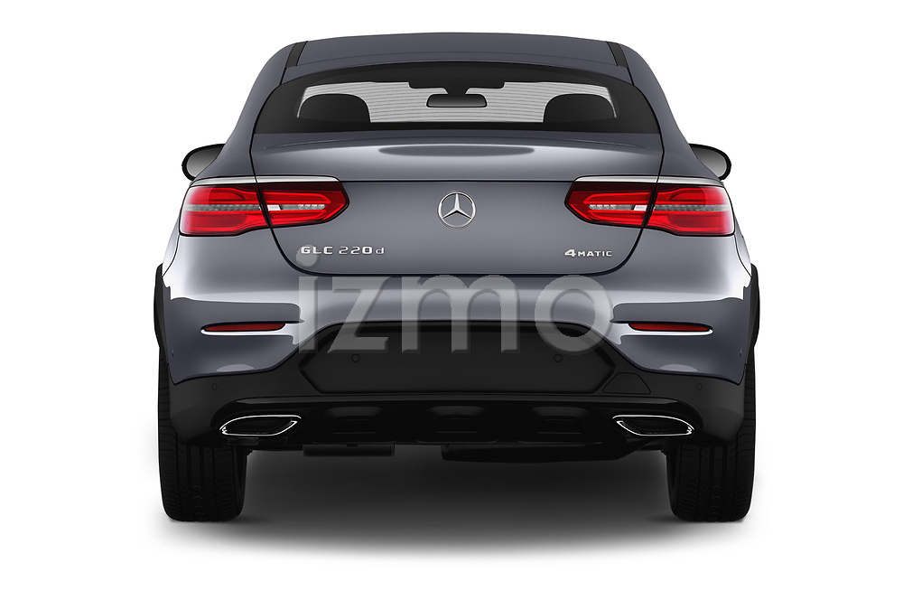 Straight rear view of 2017 Mercedes Benz GLC-Coupe 220-D 5 Door SUV Rear View  stock images