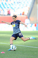 US Women's National midfielder Carli Lloyd (10) warms up prior the International Friendly soccer match between the USA Women's National team and the Korea Republic Women's Team held at Gillette Stadium in Foxborough Massachusetts.   Eric Canha/CSM