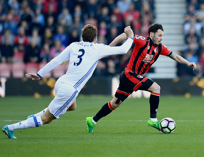 Bournemouth's Adam Smith in action during todays match against Chelsea<br /> <br /> Bournemouth 1 - Chelsea 3<br /> <br /> Photographer David Horton/CameraSport<br /> <br /> The Premier League - Bournemouth v Chelsea - Saturday 8th April 2017 - Vitality Stadium - Bournemouth<br /> <br /> World Copyright &copy; 2017 CameraSport. All rights reserved. 43 Linden Ave. Countesthorpe. Leicester. England. LE8 5PG - Tel: +44 (0) 116 277 4147 - admin@camerasport.com - www.camerasport.com