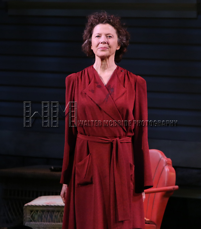 """Annette Bening during the Broadway Opening Night Curtain Call for """"All My Sons"""" at The American Airlines Theatre on April 22, 2019  in New York City."""