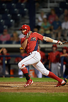 Williamsport Crosscutters designated hitter Alec Bohm (5) lines out during a game against the Mahoning Valley Scrappers on August 28, 2018 at BB&T Ballpark in Williamsport, Pennsylvania.  Williamsport defeated Mahoning Valley 8-0.  (Mike Janes/Four Seam Images)