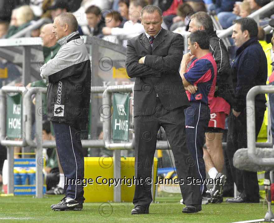 11/08/2007       Copyright Pic: James Stewart.File Name : sct_jspa25_falkirk_v_celtic.JOHN HUGHES WATCHES AS HIS TEAM GO DOWN 4-1.....James Stewart Photo Agency 19 Carronlea Drive, Falkirk. FK2 8DN      Vat Reg No. 607 6932 25.Office     : +44 (0)1324 570906     .Mobile   : +44 (0)7721 416997.Fax         : +44 (0)1324 570906.E-mail  :  jim@jspa.co.uk.If you require further information then contact Jim Stewart on any of the numbers above........