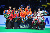 SHORT TRACK: ROTTERDAM: Ahoy, 12-03-2017, KPN ISU World Short Track Championships 2017, Podium Relay Men, Team China, Team Netherlands (Itzhak de Laat, Sjinkie Knegt, Daan Breeuwsma, Dennis Visser), World Champion, Team Hungary, ©photo Martin de Jong