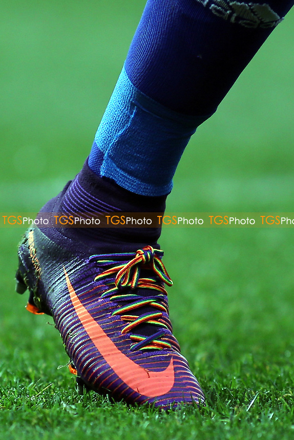 Rainbow laces being worn by Birmingham's David Cotterill  to support the anti homophobia in Sport campaign during Brentford vs Birmingham City, Sky Bet EFL Championship Football at Griffin Park on 26th November 2016