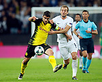Tottenham's Harry Kane tussles with Dortmund's Sokratis Papstathopoulos during the champions league match at Wembley Stadium, London. Picture date 13th September 2017. Picture credit should read: David Klein/Sportimage