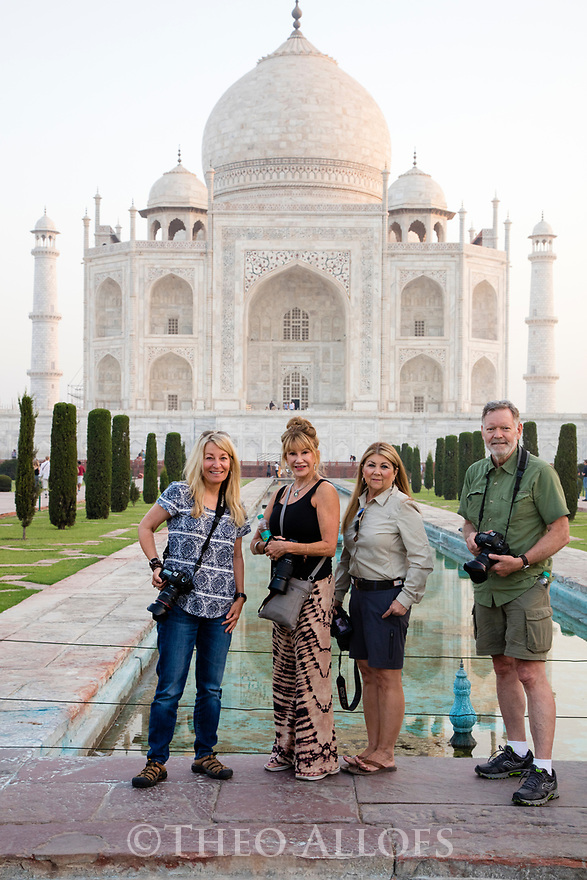 India, Agra, Focus Expeditions group in front of Taj Mahal,