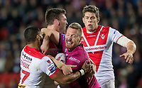 Picture by Allan McKenzie/SWpix.com - 06/04/2018 - Rugby League - Betfred Super League - St Helens v Hull FC - The Totally Wicked Stadium, Langtree Park, St Helens, England - Hull FC's Chris Green is tackled by St Helens's Dominique Peyroux & Luke Douglas.