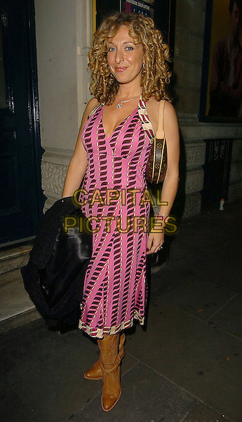 "TRACY-ANN OBERMAN.At ""On The Ceiling"" West End Transfer and press night,.Garrick Theatre,.London, 12th September 2005.full length tracey pink pattern print dress tan brown cowboy boots purse handbag .Ref: CAN.www.capitalpictures.com.sales@capitalpictures.com.©Capital Pictures"