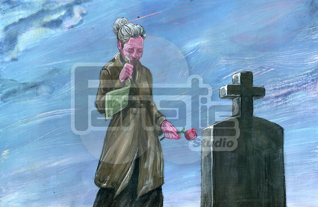 Illustrative image of senior woman with money and flower in front of graveyard