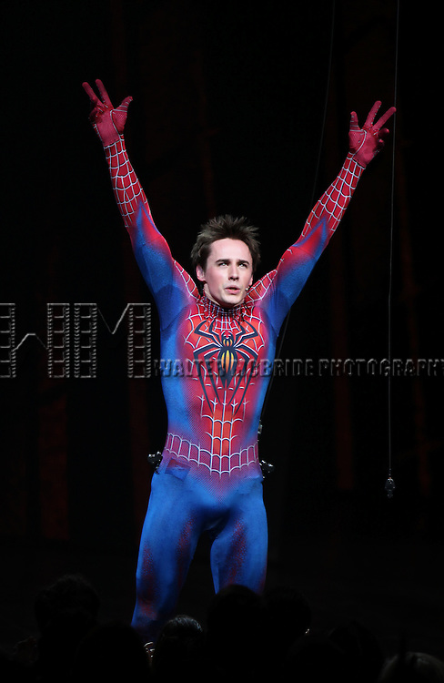 Reeve Carney.during the ''Spider-Man Turn off the Dark'' Opening Night Curtain Call in New York City.