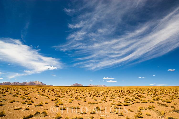 Bolivia, Altiplano, storm clouds above Altiplano north of Laguna Colorada
