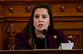 United States Representative Elise Stefanik (Republican of New York) questions Dr. Fiona Hill, former Senior Director for Europe and Russia, National Security Council (NSC), and David A. Holmes, Political Counselor, United States Embassy in Kyiv, Ukraine, on behalf of US Department of State, as they testify during the US House Permanent Select Committee on Intelligence public hearing as they investigate the impeachment of US President Donald J. Trump on Capitol Hill in Washington, DC on Thursday, November 21, 2019.<br /> Credit: Ron Sachs / CNP<br /> (RESTRICTION: NO New York or New Jersey Newspapers or newspapers within a 75 mile radius of New York City)