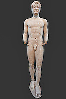 Marble kouros (naked youth 500 B.C.) in National Museum, Greece