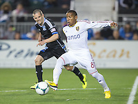 March 3rd, 2013: Joao Plata controls the ball away from Sam Cronin during a game at Buck Shaw Stadium, Santa Clara, Ca.  Salt Lake Real defeated San Jose Earthquakes