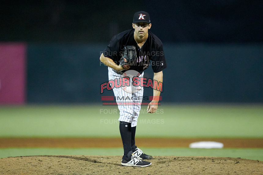 Kannapolis Intimidators relief pitcher Bennett Sousa (27) looks to his catcher for the sign against the Hagerstown Suns at Kannapolis Intimidators Stadium on July 16, 2018 in Kannapolis, North Carolina. The Intimidators defeated the Suns 7-6. (Brian Westerholt/Four Seam Images)