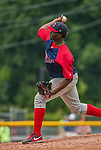 8 July 2014: Lowell Spinners pitcher Simon Mercedes on the mound against the Vermont Lake Monsters at Centennial Field in Burlington, Vermont. The Lake Monsters rallied in the 9th inning to defeat the Spinners 5-4 in NY Penn League action. Mandatory Credit: Ed Wolfstein Photo *** RAW Image File Available ****