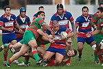 Suli Taufelele is taken to ground as  he is swamped by Waiuku defenders. Counties Manukau Premier rugby game between Waiuku & Ardmore Marist played at Waiuku on Saturday May 10th 2008..Ardmore Marist won 27 - 6 after leading 10 - 6 at halftime.