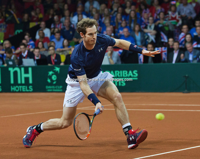 Gent, Belgium, November 28, 2015, Davis Cup Final, Belgium-Great Britain, day two, doubles match, Andy Murray (GBR) <br /> Photo: Tennisimages/Henk Koster