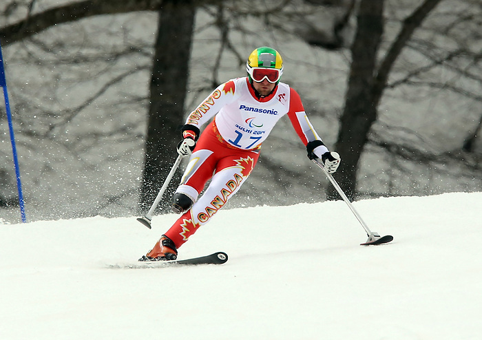 Sochi, Russia,09/03/2014. Canadian Matt Hallat competes in the men's Super G, standing event at the 2014 Paralympic Winter Games in Sochi, Russia.(Photo:Scott Grant/Canadian Paralympic Committee)
