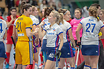 Mannheim, Germany, January 12: During the 1. Bundesliga women indoor hockey match between Mannheimer HC and Ruesselsheimer RK on January 12, 2020 at Irma-Roechling-Halle, Am Neckarkanal in Mannheim, Germany. Final score 5-4. (Photo by Dirk Markgraf / www.265-images.com) *** +m40+