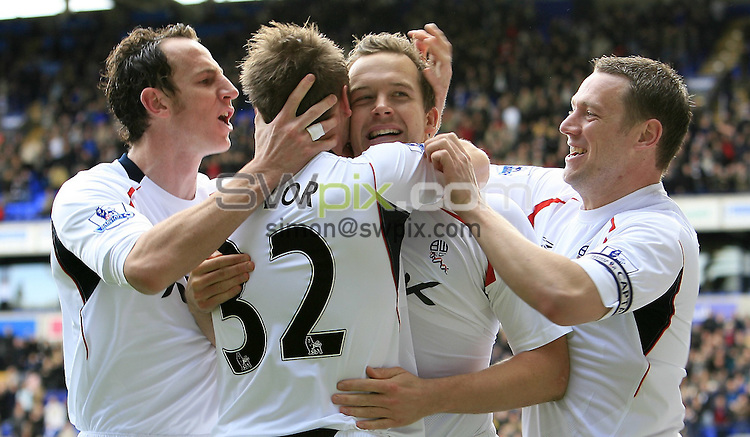 Pix: Chris Mangnall/SWpix.com, Football   Barclays Premier League. 12/04/08. Bolton Wanderers v West Ham....picture copyright>>Simon Wilkinson>>07811267 706>>....Bolton's Kevin Davies Celebrates His Goal with Matt Taylor and Jlloyd Samuel and Kevin Nolan