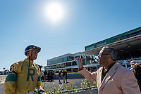 OLDSMAR, FL - JANUARY 21: Edgard J. Zayas, being interviewed by a fan after winning the Pasco Stakes on Skyway Festival Day at Tampa Bay Downs on January 21, 2017 in Oldsmar, Florida. (Photo by Douglas DeFelice/Eclipse Sportswire/Getty Images)