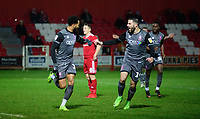 Lincoln City's Matt Green, left, celebrates scoring the opening goal with team-mate Joan Luque<br /> <br /> Photographer Andrew Vaughan/CameraSport<br /> <br /> The EFL Checkatrade Trophy Second Round - Accrington Stanley v Lincoln City - Crown Ground - Accrington<br />  <br /> World Copyright © 2018 CameraSport. All rights reserved. 43 Linden Ave. Countesthorpe. Leicester. England. LE8 5PG - Tel: +44 (0) 116 277 4147 - admin@camerasport.com - www.camerasport.com