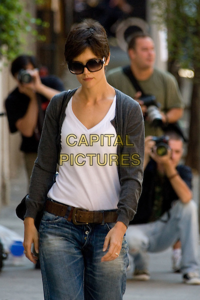 "KATIE HOLMES.""All My Sons"" rehearsals in Greenwich Village, New York, NY, USA..August 7th, 2008.half length white top cardigan grey gray sunglasses shades jeans denim brown belt.CAP/LNC/TOM.©TOM/LNC/Capital Pictures."