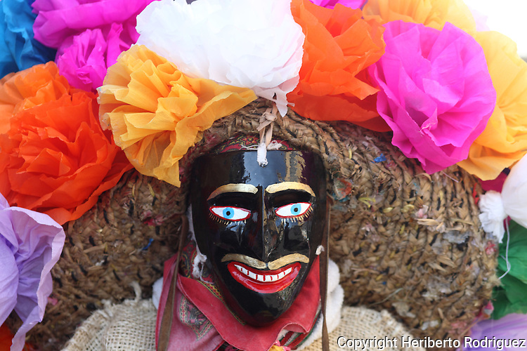A man wearing a face mask dances during the Porrazo del Tigre parade in the main streets of CHilpancingo, in soutern state of Guerrero, December 21, 2008. Photo by Heriberto Rodriguez