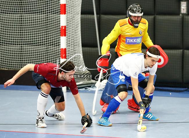 ROTTERDAM  - NK Nacompetitie Zaalhockey heren. HCKZ-Venlo (3-5) Venlo  promoveert.  Lennart Smits (Venlo).  COPYRIGHT KOEN SUYK
