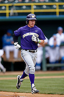 Jayce Ray #1 of the Washington Huskies runs to first base during a baseball game against the UCLA Bruins at Jackie Robinson Stadium on March 17, 2013 in Los Angeles, California. (Larry Goren/Four Seam Images)
