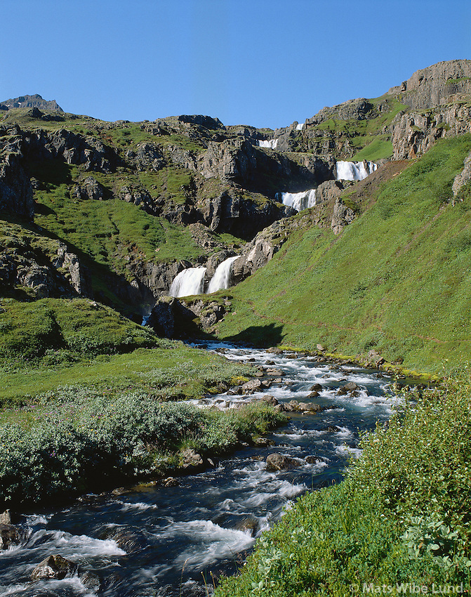 Klifbrekkufossar, Mjóifjörður..Klifbrekkurfossar waterfalls in Mjoifjordur