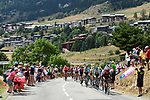 The peloton in action during Stage 19 of the 2019 Tour de France originally running 126.5km from Saint-Jean-de-Maurienne to Tignes but cut short to 88.5 km due to heavy hailstorms, France. 26th July 2019.<br /> Picture: ASO/Alex Broadway | Cyclefile<br /> All photos usage must carry mandatory copyright credit (© Cyclefile | ASO/Alex Broadway)