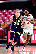 College Park, MD - NOV 29, 2017: Georgia Tech Yellow Jackets guard Francesca Pan (33) brings the ball up court defended by Maryland Terrapins guard Kaila Charles (5) during ACC/Big Ten Challenge game between Gerogia Tech and the No. 7 ranked Maryland Terrapins. Maryland defeated The Yellow Jackets 67-54 at the XFINITY Center in College Park, MD.  (Photo by Phil Peters/Media Images International)