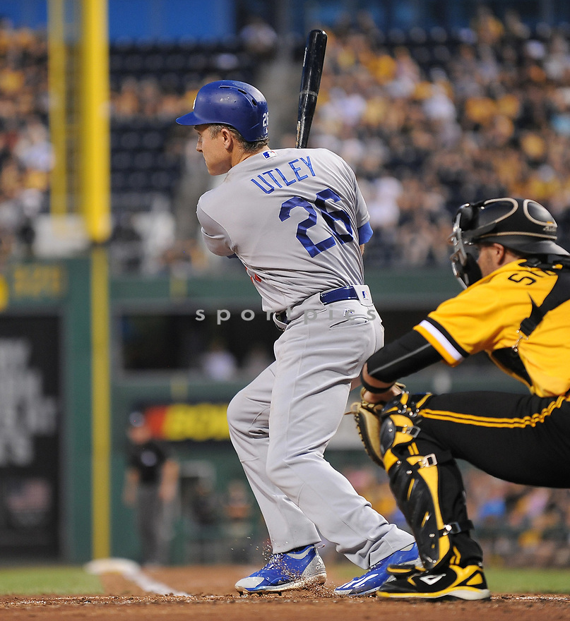Los Angeles Dodgers Chase Utley (26) during a game against the Pittsburgh Pirates on June 26, 2016 at PNC Park in Pittsburgh, PA. The Dodgers beat the Pirates 4-3.