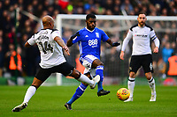 Jeremie Boga of Birmingham takes the ball round Andre Wisdom of Derby during the Sky Bet Championship match between Birmingham City and Derby County at St Andrews, Birmingham, England on 13 January 2018. Photo by Bradley Collyer / PRiME Media Images.