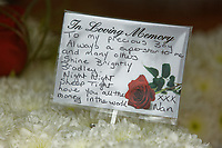 "Pictured: Tributes for Bradley in the hearse outside at Aberavon Beach Hotel in Port Talbot, Wales, UK. Monday 08 October 218<br /> Re: A grieving father will mourners on horseback at the funeral of his ""wonderful"" son who killed himself after being bullied at school.<br /> Talented young horse rider Bradley John, 14, was found hanged in the school toilets by his younger sister Danielle.<br /> Their father, farmer Byron John, 53, asked the local riding community to wear their smart hunting gear at Bradley's funeral.<br /> Police are investigating Bradley's death at the 500-pupils St John Lloyd Roman Catholic school in Llanelli, South Wales.<br /> Bradley's family claim he had been bullied for two years after being diagnosed with Attention Deficit Hyperactivity Disorder.<br /> He went missing during lessons and was found in the toilet cubicle by his sister Danielle, 12."