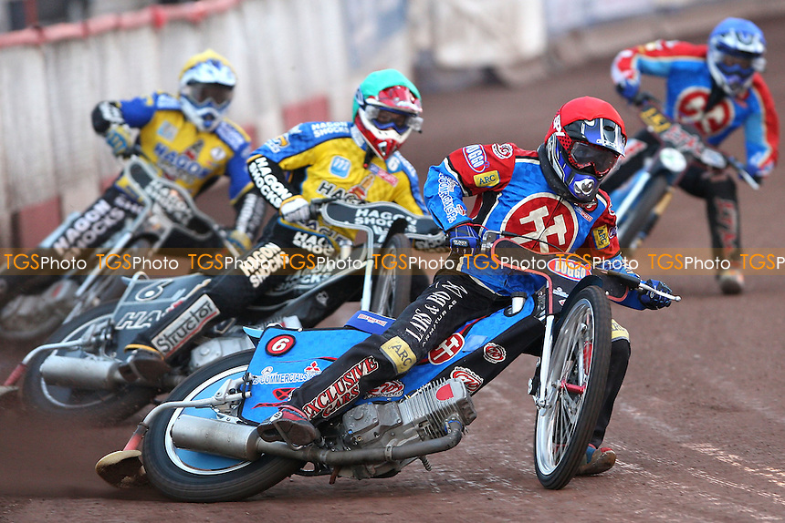 Heat 2: Ricky Kling (red), Simon Gustafsson (green), James Brundle (yellow) and Lubos Tomicek (blue) - Lakeside Hammers vs Eastbourne Eagles KOC Semi Final 1st Leg at The Arena Essex Raceway, Lakeside - 13/08/08 - MANDATORY CREDIT: Rob Newell/TGSPHOTO