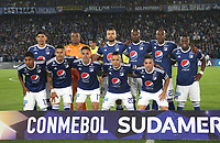 BOGOTÁ -COLOMBIA, 02-10-2018:Formación de Millonarios of Colombia ante el Independiente Santa Fe de Colombia   durante partido de vuelta  por los octavos de final ,llave A,  de La Copa Conmebol Sudamericana 2018,jugado en el estadio Nemesio Camacho El Campín de la ciudad de Bogotá./ Team of Millonarios of Colombia agaisnt Independiente Santa Fe of Colombia during second return meeting game for the knockout round, key A, of the Conmebol Sudamericana Cup  2018, played at the Nemesio Camacho stadium The Campín of the city of Bogotá. Photo: VizzorImage/ Felipe Caicedo / Staff