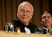 United States Vice President Dick Cheney attends the the annual White House Correspondents' Association dinner at the Washington Hilton in Washington, D.C., Saturday 30 April 2005. The annual dinner began in 1914 as a bridge between the White House and its media corps and tonight feautured a mix of political insiders including Supreme Court Justices, Antonin Scalia and Stephen Breyer, and Hollywood elite such as Goldie Hawn and Richard Gere.  <br /> Credit: Katie Falkenberg - Pool via CNP