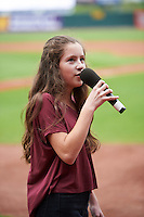 Cedar Rapids Kernels national anthem singer before the first game of a doubleheader against the Kane County Cougars on May 10, 2016 at Perfect Game Field in Cedar Rapids, Iowa.  Kane County defeated Cedar Rapids 2-0.  (Mike Janes/Four Seam Images)